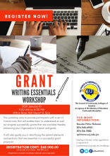 Stand out from the crowd when you register for our Grant Writing Essentials Workshop.   This workshop aims to provide participants with a set of critical tools that will enable them to understand as well as navigate successfully grants that are available thereby enhancing your Organisation's mission and goals.  It will also guide you in identifying the salient elements and sections that are essential in a successful grant proposal.  Write your next winning grand! REGISTER NOW!