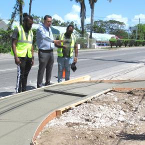 Mayor Davis Observes Sidewalk Works