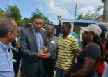 Minister the Most Hon. Andrew Holness (centre) speaks with Mayor of Falmouth, Councillor Colin Gager (right) during a tour of Falmouth, Trelawny on January 26. At left is Commissioner of Police, George Quallo and in the background is Minister without portfolio in the Ministry of Economic Growth and Job Creation, Dr. the Hon. Horace Chang.